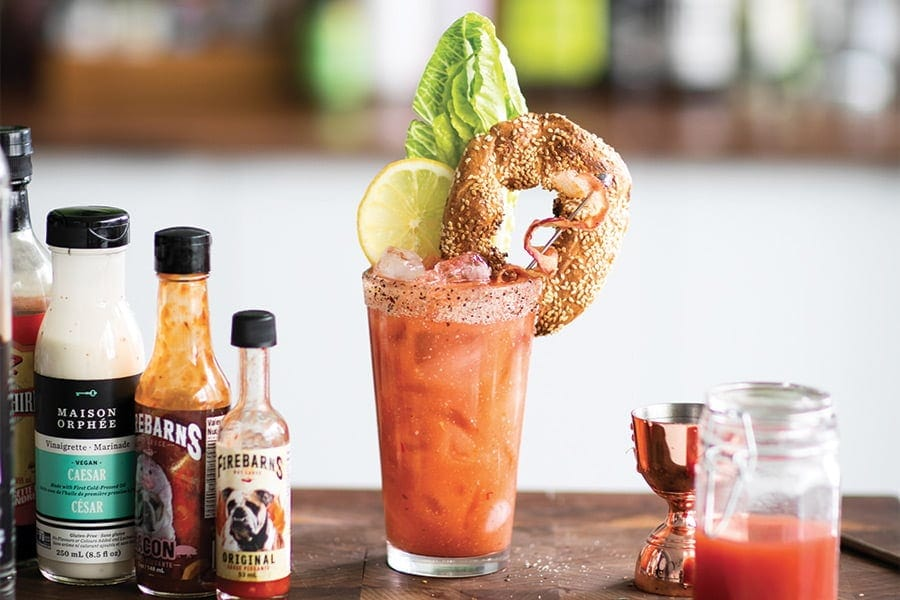 pur vodka bloody caesar salad bagel bacon cocktail