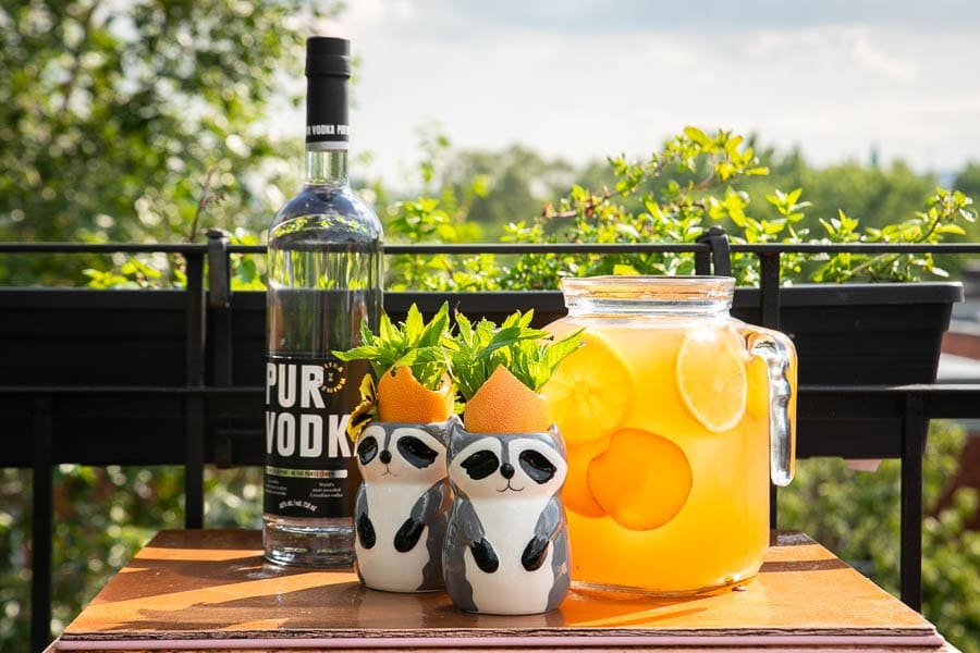 A refreshing punch cocktail with Pur Vodka, peaches and mint