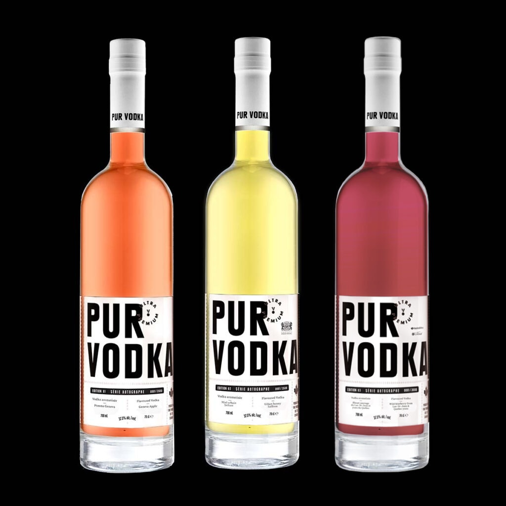 Pur Vodka Série Autographe : ultra premium vodkas made in Quebec, Canada from fresh and raw ingredients