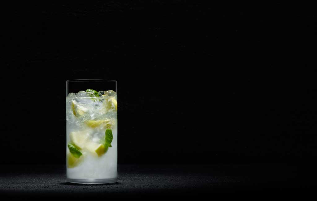 Cuban Memories is a refreshing version of the mojito, with basil and lemon.